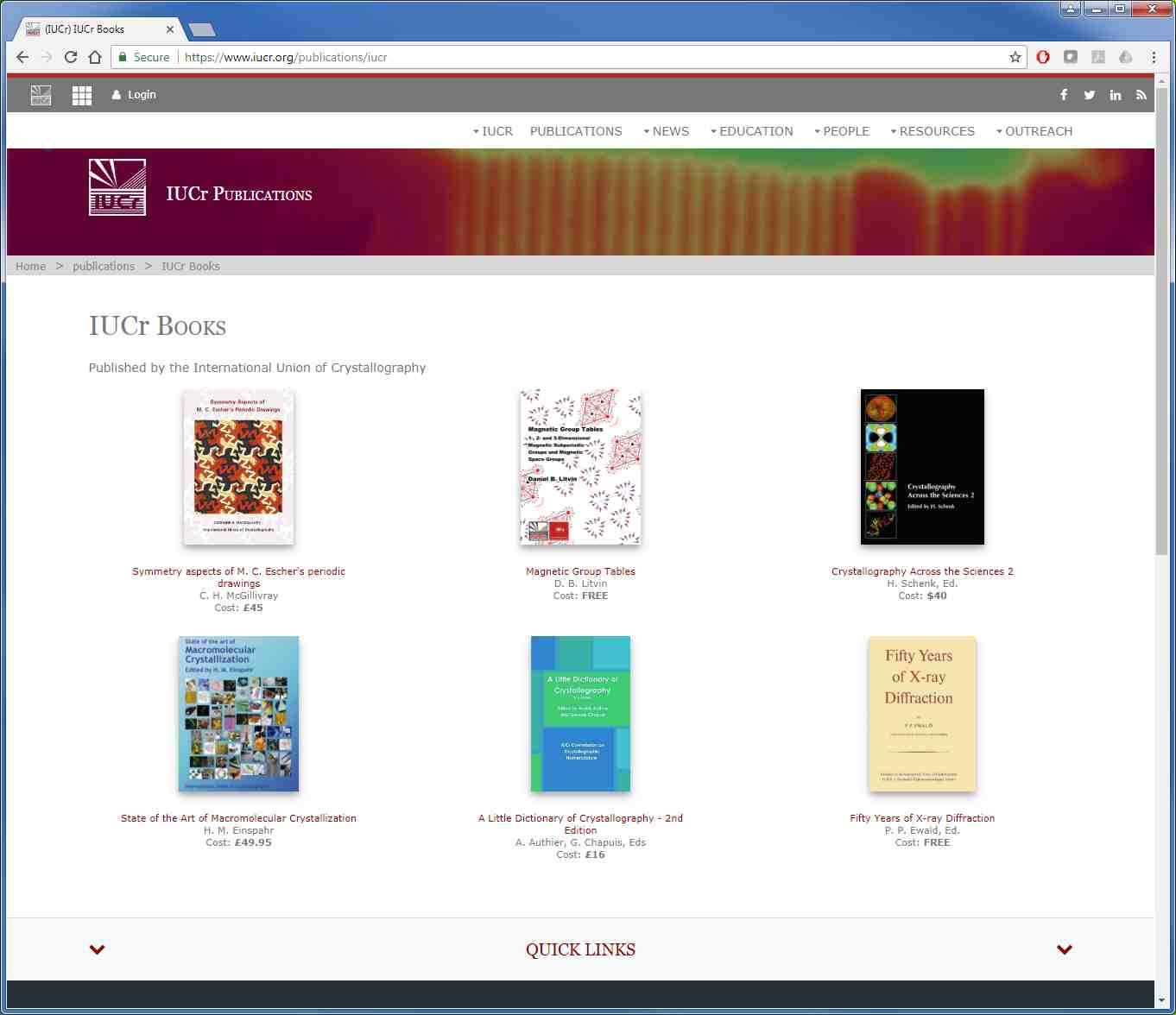 [IUCr books listed on the IUCr website]