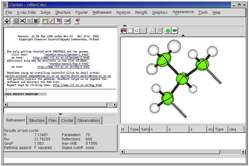 [Screenshot of CRYSTALS software]