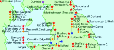 [Map of Northern universities]