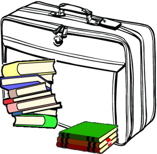 [Suitcase and books]