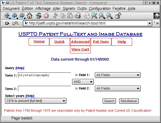 [Patent Office search interface]